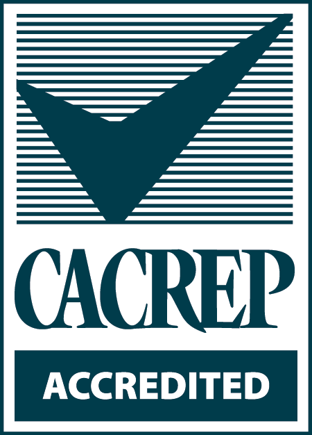 CACREP accreditation in white and teal colors